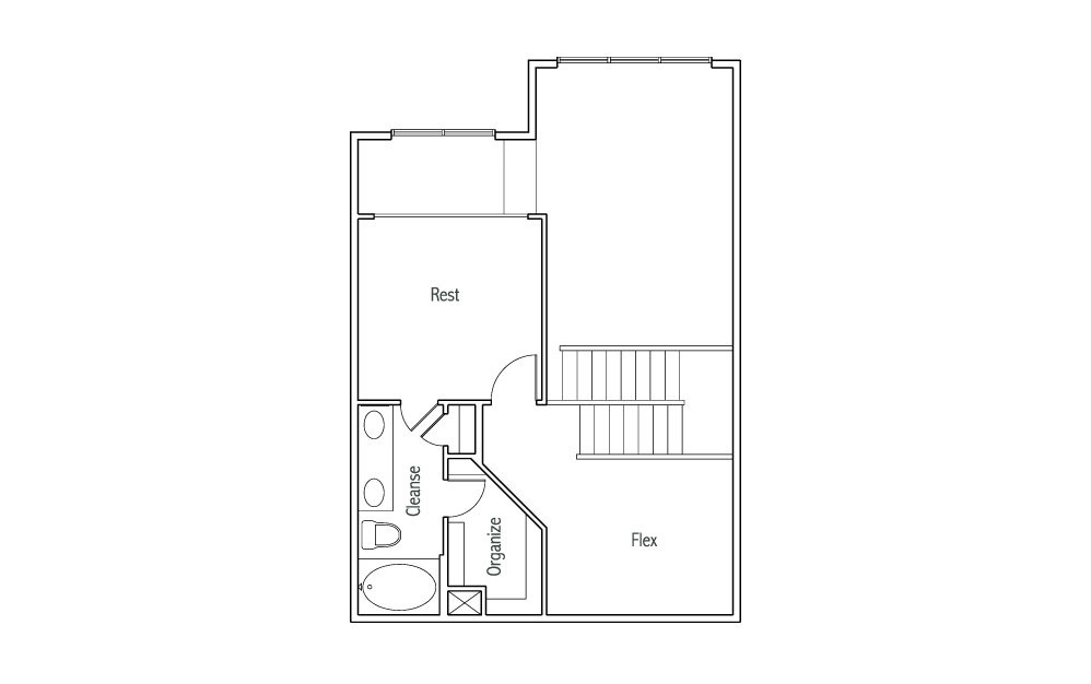 L3 - 1 bedroom floorplan layout with 1.5 bath and 1240 square feet. (Espresso Finish 2nd Floor / 2D)