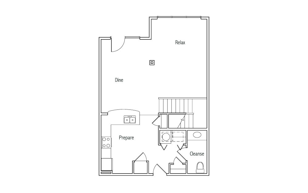 L3 - 1 bedroom floorplan layout with 1.5 bath and 1240 square feet. (Espresso Finish 1st Floor / 2D)