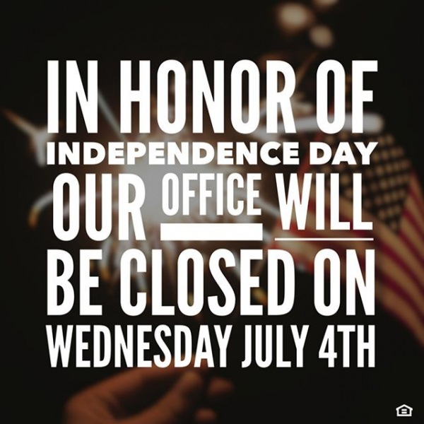 We're closed on the 4th! Wishing you and yours a safe and fun Independence Day!